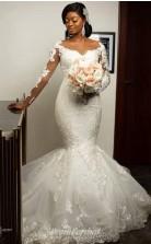 Ivory Bridal Lace Long Sleeve Mermaid Sheer Neck Wedding Dress Size 6-18 Black Brides BWD020