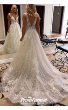 Sparkly Lace A Line Deep V-neck Open Back Wedding Dress BWD021