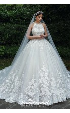 Luxury Ball Gown Lace Muslim Bride Plus Size Wedding Dress BWD022