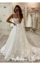 Lace Applique Flowers A-line Wedding Dresses Petite Brides BWD028