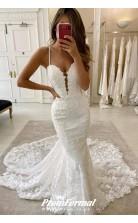 Mermaid Spaghetti Straps Deep V Neck Lace Wedding Dress Chapel Train BWD029
