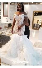 Illusion Long Sleeve Mermaid Plus Size Lace Ruffles Tiered Trumpet Wedding Dress BWD032