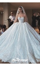 Strapless Luxury Sweetheart Princess Lace Wedding Dress BWD033