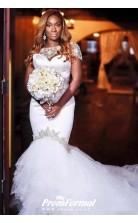 Luxury Beading Long Tail Mermaid Plus size Wdding dress for Black Women BWD036