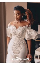 Mermaid Plus Size Off The shoulder Long Train Charmeuse Applique Wedding Dress BWD040