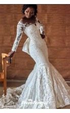 Black Girls Nigerian Lace Wedding Bridal Dresses with Long Sleeves Plus Size BWD042