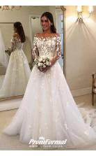 Flowy Long Sleeves A-line Bridal Gown with Floral Embroidery Lace BWD044