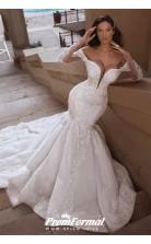 Mermaid Long Sleeve Train Deep V Neck Beading White Wedding Dresses BWD047