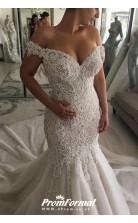 Off Shoulder Dubai Mermaid Luxurious Beaded Pearls Chapel Garden Bridal Gowns BWD048