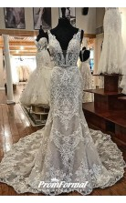 Sexy SHEATH V Neck LACE APPLIQUE Straps Lace Wedding Dress BWD049