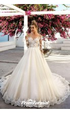 Marvelous Lace Detailing A Line Long Sleeve Wedding Dress BWD053