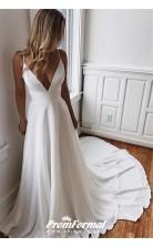 A Line Simple White V Neck Long Boho Gown Summer Wedding Dress BWD055