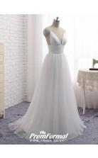 Simple A-line Flowy Romantic Tulle Boho Beach Wedding Dress Nottingham BWD059