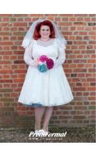 1950s Style Plus Size Lace Short Long Sleeve Wedding Dress Older Bride BWD061