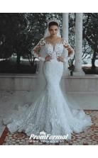 Luxury Fully Lined Long Sleeves Lace Beaded Mermaid Wedding Dress BWD063