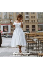 Classic Simple 50s Tea Length  Short Rockailly Wedding Dress Belfast BWD071