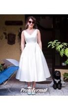 Simple V Neck 50s Beach Simple Tea Length Wedding Dress Older Brides BWD072