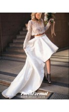 Two Piece Long Sleeved High Low Lace Wedding Dress Leicester BWD076