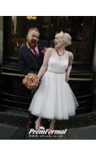 V Neck Tea Length Country Style Wedding Dresss City Civil Weddings BWD077