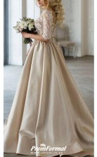 Satin V Neck Champagne Wedding Dress with Half Sleeves Lace Top BWD079