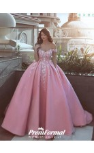 Ball Gown Pink Princess Wedding Dress With Lace Appliques BWD082