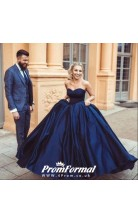 Sweetheart Navy Blue Simple Wedding Dress Quinceanera Gown BWD083