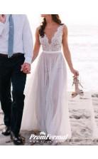 Simple A Line V Neck Flowy Lace Summer Beach Wedding Dress BWD084