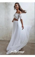 Simple White Boho Beach Two Piece Wedding Dress With Short Sleeves BWD089