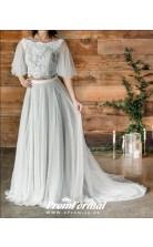 A Line Half Sleeve Boho Rustic Crop Top Two Piece Wedding Dress BWD093