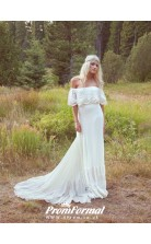 A Line Boho Off Shoulder Bohemian Wedding Dress for Nature Wedding BWD094