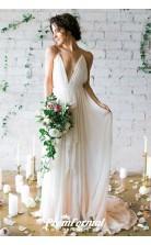 Simple Straps Sexy A Line Beach V Neck Boho Flowy Wedding Dress BWD095