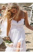 Simple Spaghetti Straps Lace Side Slit Wedding Dresses For Beach Wedding BWD096