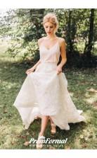 A line Spaghetti Straps Boho Two Piece Lace Crop Top Wedding Dress BWD103