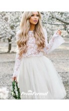 Simple Beach Lace Long Sleeve Short Two Piece Wedding Dress  BWD108