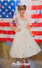 A-line Short Tea  Length Sleeve Vintage Tea Length 60s Wedding Dress BWD114