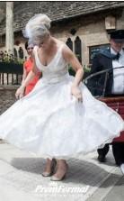A Line 50s V-Neck Lace Short Tea Length Older Brides Wedding Dress BWD118