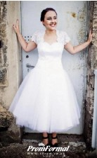 Plus Size 50s Style Tea Length Wedding Dress with Lace Jacket Short Sleeves for 40 50 60 Years BWD119