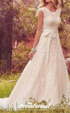 A Line Country Lace Wedding Dress with Long Trains Near Me BWD122