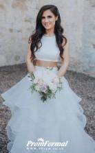 Two Piece Wedding Dress with Ruffles Organza Skirt Castle Wedding BWD128