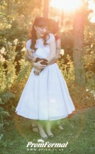 A Line Simple Country Vintage Cap Sleeves Tea Length Wedding Dress for Short Women BWD129