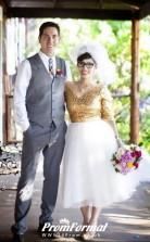 Elegant Half Sleeve V Neck Country Gold Sequin Short Wedding Dress for Older Brides BWD130