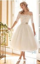 Off The Shoulder A Line Half Sleeve Short Wedding Dresses Destination Wedding BWD133