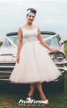 Plus Size Tea Length Vintage Barn 1960s Wedding Dress for Older Bride BWD136