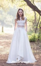 A-line Lace Cap Sleeves Two Piece Wedding Dress with Pocket for Petite Women BWD137