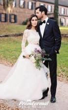 Two Piece Long Sleeve Lace Crop Top Bridal Separates Wedding Dress Village Weddings BWD138