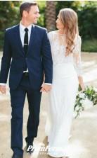 Flowy Boho Lace Two Piece Mermaid Long Sleeve Wedding Dress Outdoor Wedding BWD140