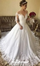 Ball Gown Off-the-Shoulder Long Sleeves Lace Wedding Dresses BWD146