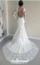 Lace Long Sleeves Mermaid Backless Bridal Wedding Dress BWD148
