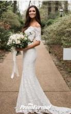 Mermaid Half Sleeve Lace Off The Shoulder Two Piece Wedding Dress Curvy Brides BWD155