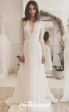 Deep V Neck Long Lace Sleeve A-line Beach Reception Wedding Dress BWD157